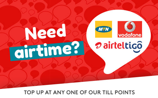 TOP UP AT ANY ONE OF OUR TILL POINT